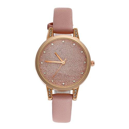 Reloj de mujer LANCARDO con correa de cuarzo y cristal con esfera analógica, ultrafina, correa de piel, reloj para mujer rosa