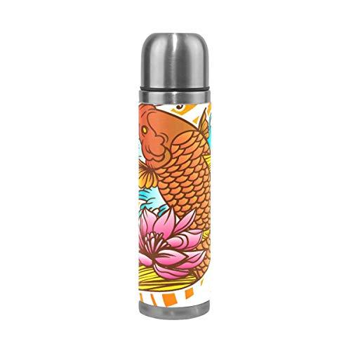 Thermosflasche Thermoskanne Kaffeebecher,Japanisches Koi-Fisch-Tattoo mit Welle und Blume,500ml Isolierte Edelstahl Trinkflasche,Thermobecher,100% Auslaufsicher,Isolierbecher,Doppelwandisolierung