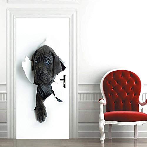 CJZYY Door Mural 3D Probe Dog Head Removable Self-Adhesive Door Decal Door Art Door Wall Stickers Wallpaper DIY Office Home Decor Poster Decoration 77x200cm