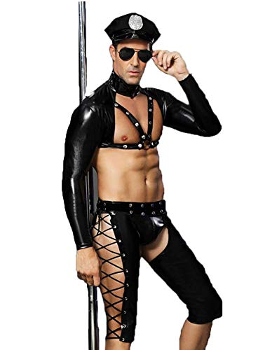 L.Atsain Sexy Dessous Für Männer Polizei Outfit,Herren Homosexuell Bar Nachtclub Performance-Kleidung Schwarze Wäsche Uniform Versuchung