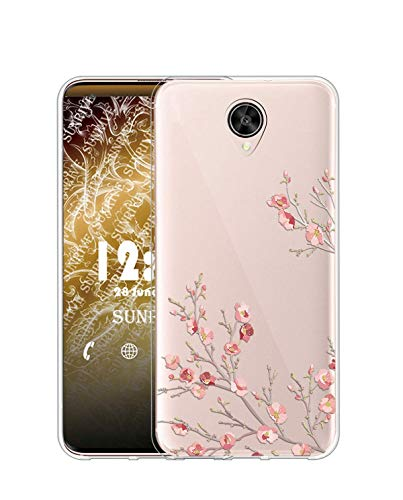 Sunrive Kompatibel mit Meizu Pro 6 Plus Hülle Silikon, Transparent Handyhülle Schutzhülle Etui Hülle (TPU Blume)+Gratis Universal Eingabestift MEHRWEG
