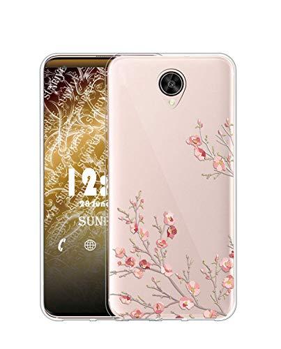 Sunrive Kompatibel mit Meizu M3 Max Hülle Silikon, Transparent Handyhülle Schutzhülle Etui Hülle (TPU Blume)+Gratis Universal Eingabestift MEHRWEG