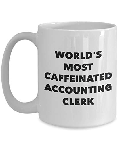 DKISEE Accounting Clerk mok - 's werelds meest cafeïnevrije boekhouding bediende - grappige thee Hot Cocoa Cup Kerstmis Thanksgiving Festival vrienden cadeau 15oz Kleur: wit