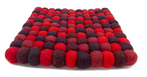 feelz Filzuntersetzer aus Filzkugeln eckig rot dunkelrot 100% Filz (Wolle) Handarbeit Topfuntersetzer bunt quadratisch (20x20cm)
