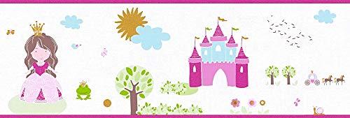 A.S. Création Bordüre Little Stars Borte Prinzessin 5,00 m x 0,17 m bunt weiß Made in Germany 358532 35853-2