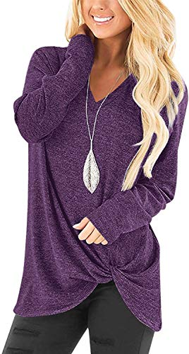 Womens Casual Tunic Tops Long Sleeve V Neck Plain Basic Fall Tees Twist Front Knot Top Purple S