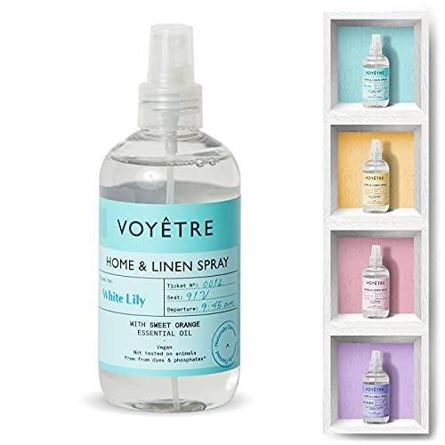 Voyetre Home & Linen Spray - Vegano, derivado natural, no probado en animales, fórmula biodegradable, 250 ml (lirio blanco)
