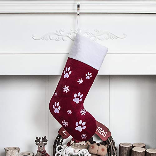 gexworldwide GEX 21' Christmas Stockings for Dog Pet Luxury Velvet Lovely Embroidery Pattern Family Decor Hanging Ornament for Xmas Holiday Party Decorations Paws Red