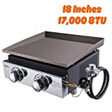 TACKLIFE 18-inch Portable Gas Griddle, 2 Burners, 17,000 BTU, 281.61 sq. inches, Stainless Steel, Propane Fueled, for Outdoor Cooking While Having a Party, Camping or Picnicking