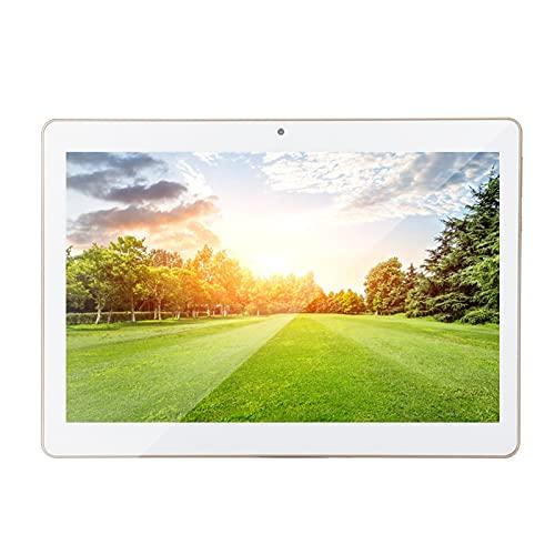 Tablet Pc 10In HD Tablet Gold 1 + 16G para Android 4.4 100-240V Función de los GPS de la cámara Dual de Android 3G / WiFi de la PC de la Tableta con Cable USB (Blanco)