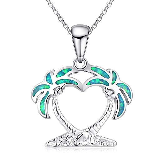 Opal Necklace 925 Sterling Silver Wave/Tree and Wave/Double Palm Tree Necklaces,Ocean Beach Opal Surfing Sea Surfer Hawaii Circle Beach Jewelry (Double Palm Tree Necklace)