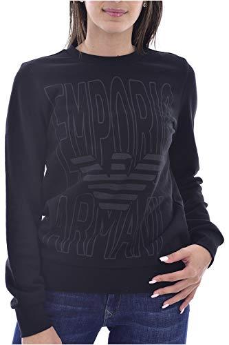 Emporio Armani - Sudadera para mujer Maxi Logo Negro Negro 44 ES XL