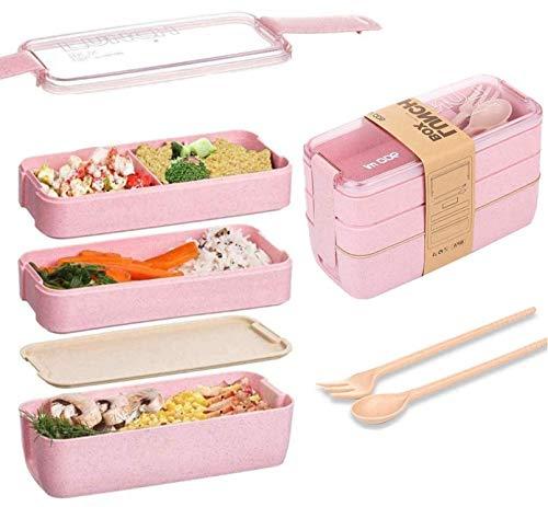 Eastor Fiambrera de 3 capas de 900 ml, caja bento ecológica de paja de trigo, caja bento con tenedor y cuchara, fiambrera ecológica para adultos y niños (rosa)