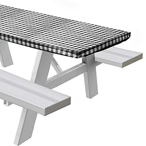 Sorefy Vinyl Fitted Picnic Table Cover, Checkered Design, Flannel Backed Lining, 30' x 60' Black