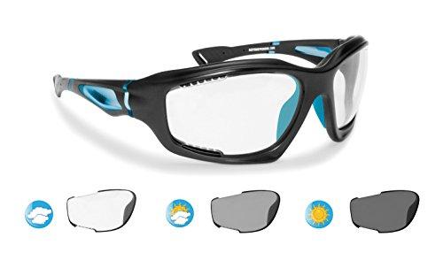 BERTONI Photochrome Antibeschlag Windschutz Sportbrillen für Extremsport - F1000D Selbsttönend Sonnenbrille Kat 0 bis 3