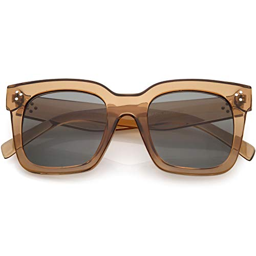 zeroUV - Bold Flat Lens Oversized Square Frame Horn Rimmed covid 19 (Frame Womens Sunglasses coronavirus)