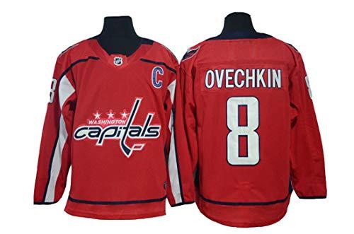 Gmjay Ovechkin # 8 Hockey Jersey Washington Capitals Hockey Blau Genähte Buchstaben Zahlen NHL Long Hockey Jersey,red,XXL
