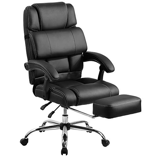 """Merax Office Portland Technical Leather Big & Tall Executive Recliner Napping Support Cushion and footrest Chair, 28.3"""" L x 22.8"""" W x 42.5-45.3"""" H, Black"""