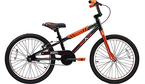 """Brave Black and Orange Freestyle BMX Kids 20"""" Bicycle, Lightweight Aluminum Frame and Fork, Easy to Ride! Premium Parts, Premium Safety, Without The Premium Price!"""