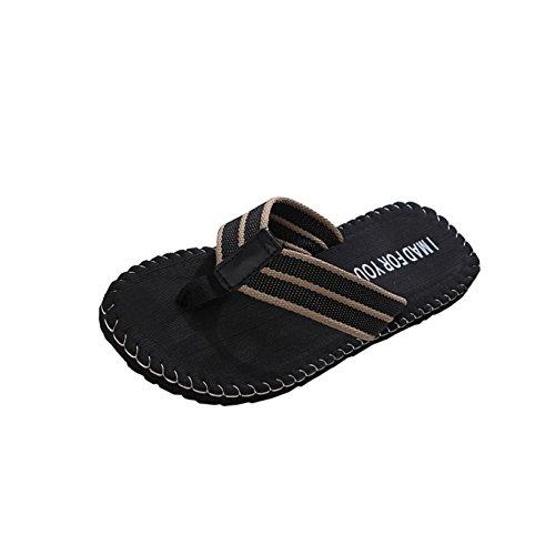 Summer Essential Sandals Outdoor & Indoor-RQWEIN Mens Sandals Flip Flops Athletic Cushion Footbed Waterproof Flip Flops(Black,7)