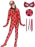 Eleasica Enfant Marinette Costume Fille Miraculous Ladybug Masque Sac Zip Cadeau Anniversaire Coaplay Halloween Noël Mascarade Carnaval Fête Elastique Rouge Déguisement Combinaison