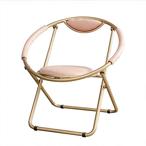Round Bar Chairs,Metal Bar Chair/Golden Back Sofa Chairs Foldable Coffee Patio Chairs Counter Kitchen Dining Lounge Chair (Color : Pink)