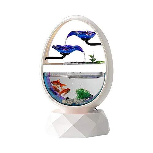 TWDYC Fuente de Escritorio Cascada del Agua del Flujo del Paisaje Decoraciones caseras Ganso Huevo en Forma de pez Tanque Fuente de Escritorio