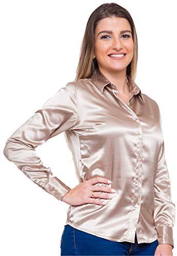 Camisa Manga Longa Social Feminina em Cetim com Elastano (GG, Dourado)