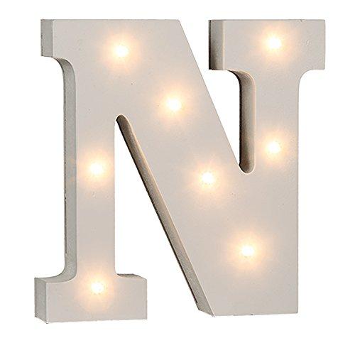 schenken-24 Beleuchtete Buchstaben (A - Z) mit LED-Birnchen, weiß, ca. 16 cm Höhe, Buchstaben:N