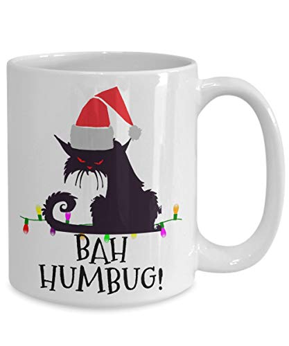 """Eli231Abe - Taza con diseño de gato, diseño de gato con texto en inglés """"Mad Cat Bah, Humbug Angry Scrooge en gorro de Papá Noel, bonito regalo de Navidad para amantes de los gatos negros"""
