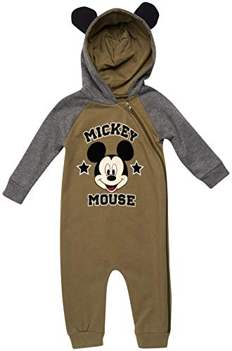 Disney Baby Boys' Pajamas - One Piece Plush Long Sleeve Hooded Sleep and Play Onesie Coveralls, Mickey Olive Green Size 12 Months