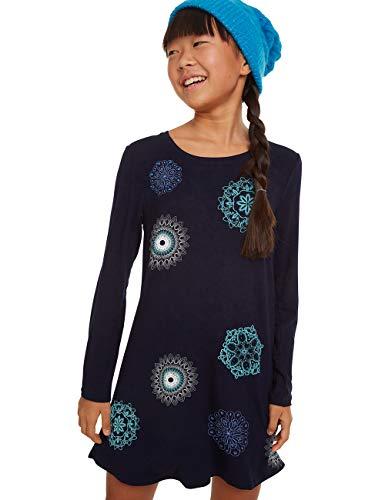 Desigual Mädchen Dress PASAS Kleid, Blau (Navy 5000), 128 (Herstellergröße: 7/8)
