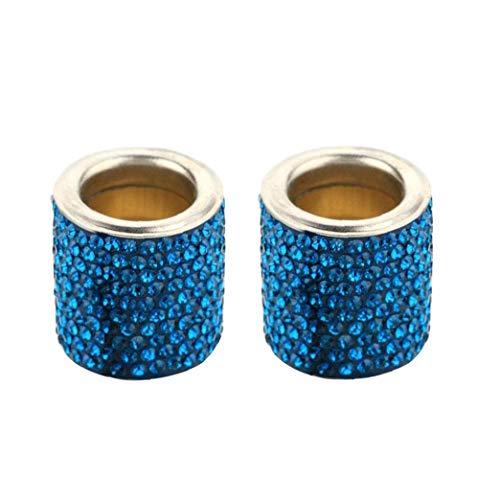 Auto-Kopfstütze Halsbänder Auto Kopfstütze Ringe Luxus Dekoration Kristall Strass für Auto-Innendekoration Blau 2 Stück