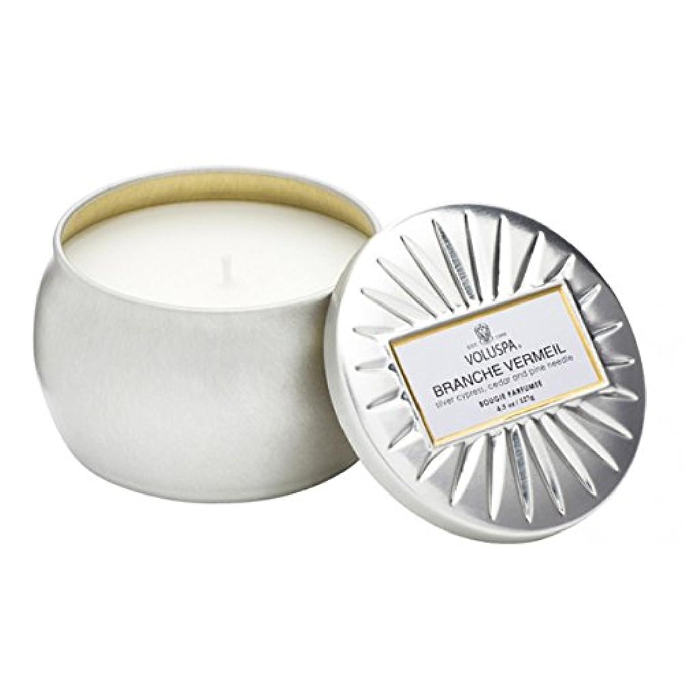 影響を受けやすいです換気するバーターVoluspa ボルスパ ヴァーメイル ティンキャンドル  S フ?ランチヴァーメイル BRANCHE VERMEIL VERMEIL PETITE Tin Glass Candle