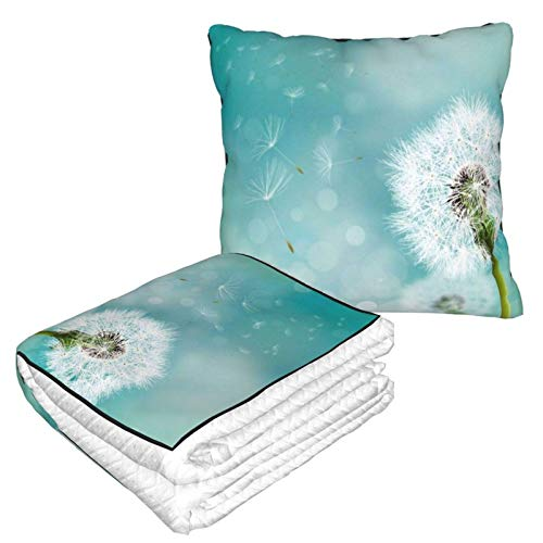 AEMAPE Dandelion Car Pillow Blanket Sofa Blanket, Travel Pillow Blanket, Warm and Thick, Airplane Plush Neck Pillow Thrown for Sleep