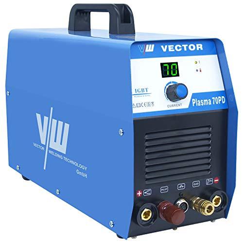 Vector Plasma 70PD Plasmaschneider mit 70 Ampere Schneidet bis 24 mm Plasma Cut Inverter Schweißgerät Plasma cutting cutter, HF Zündung, Kontaktzündung,5 Jahre Garantie Blau