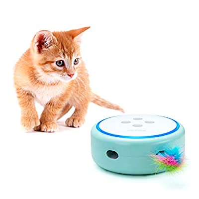 PETBIA Interactive Cat Toy, Electronic Automatic Cat Toys with Random Rotating Feather Pop and Play for Cats (15 Minutes Auto-Shut Off/Continuous Plays Available) - Green