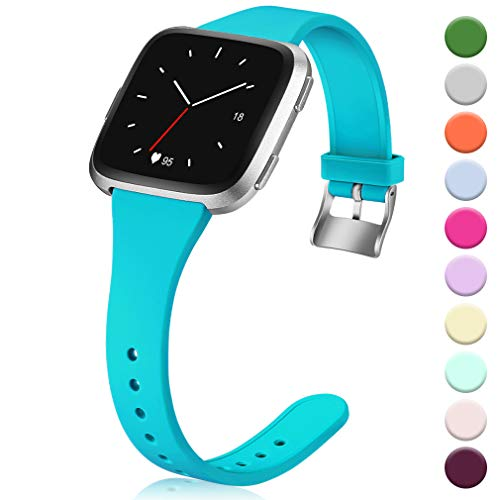 Hamile for Fitbit Versa/Versa 2/SE/Lite Bands, Slim Soft Silicone Wristbands Fitness Straps Replacement Belt for Fitbit Versa Lite Edition Fitness Smart Watch Band, Women Men Kids, Small (Teal)