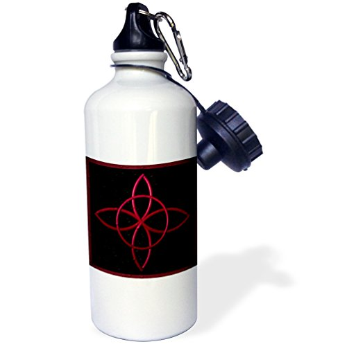 3dRose 'A Celtic design knot in magenta' Sports Water Bottle, 21 oz, White