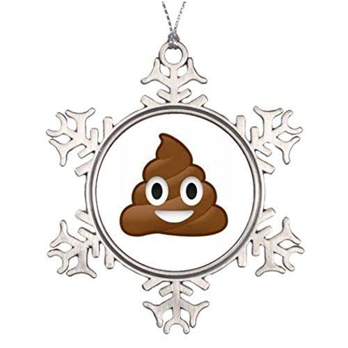 WSMBDXHJ Poop Emoji Fiocco di Neve Natale Ornamenti in Peltro per L'Albero di Natale