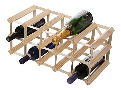 RTA CNRK4560 Limited Edition Weinregal für 15 Flaschen, hochwertiges, traditionelles Weinregal, komplett montiert, Stahl / Kiefer Natur (FSC)