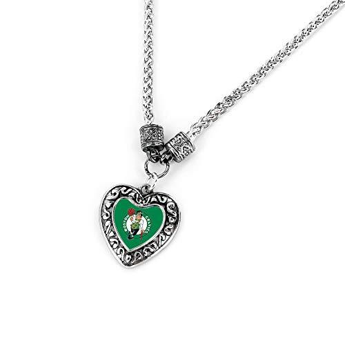 Aminco NBA Boston Celtics Charmed Heart Pendant Necklace, Atlanta Hawks, 4