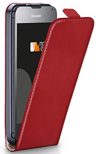 MoEx® Flip Case mit Magnetverschluss [R&um-Schutz] passend für Huawei Ascend Y300 | 360° Handycover aus feinem Premium Kunst-Leder, Rot