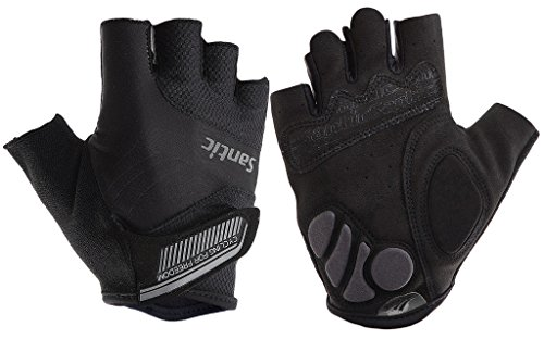 Santic Classic Fingerless Cycling Gloves with Shock-absorbing Foam Pad Breathable Half Finger Moutain Bike Bicycle Riding Gloves for Men and Women black M