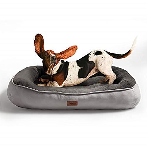 Bedsure Hundebett für kleine Hunde, Hundebetten niederige Ränder mit weiche Füllungen flauschig, auswählbar in Grau, Größe 81x58 cm, 18 cm hoch