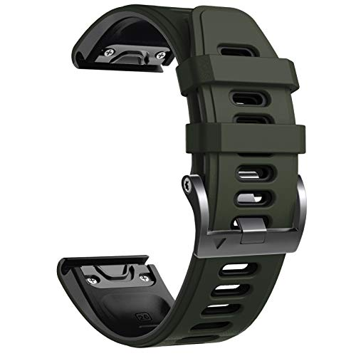 NotoCity Bracelet Fenix 5X, Remplacement avec Bracelet de 26 mm de Largeur pour Fenix 5X Plus/Fenix 6X/Fenix 6X Pro/Fenix 3/Fenix 3 HR/Descente MK1/D2 Delta PX(armée Verte)