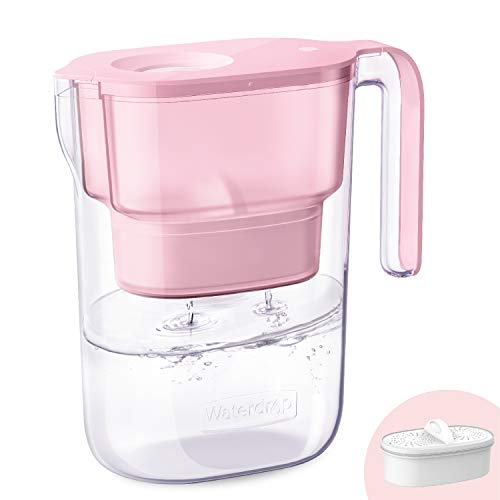 Waterdrop Elfin NSF Certificado Jarra con Filtro de Agua para Refrigerador de 2.5L con 1×90 Días, Reduce el Plomo, el Flúor, el Cloro y Más, sin BPA, Rosado (Filtro de Repuesto: WD-PF-01A Plus)