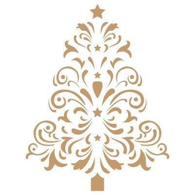 Stencil Deco Festa 025 Natale Albero. Misure: Dimensioni Esterne dello Stencil: 20 x 20 (cm) Misure Design: 11,5 x 15 (cm)