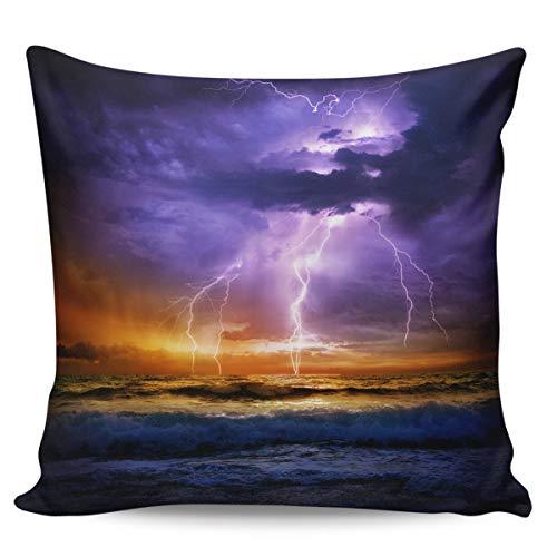 Fundas de almohada de 45,72 x 45,72 cm, color morado, diseño de nubes de cielo aterrador, playa, paisaje nocturno