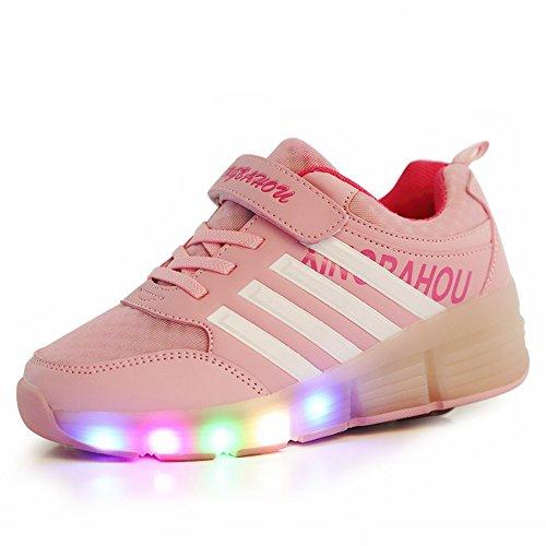 Good-time Kinder Junge Mädchen Led Schuhe Sneaker Mit Rollen 7 Farbe Farbwechsel Wheels Skate Schuhe(Pink,31 EU)